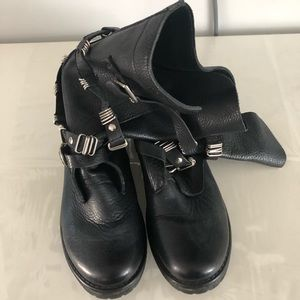 Black Boots with Buckle Metal Detail
